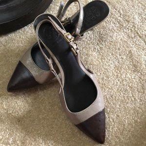 Tory Burch kitten heels. Two tone.